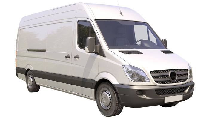 Modern commercial van isolated on a white background
